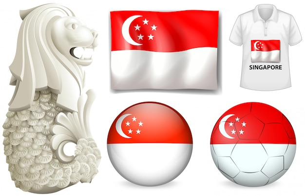 Singapore flag and symbol Free Vector
