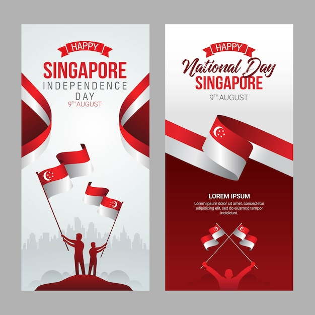 Singapore independence day greeting card Premium Vector