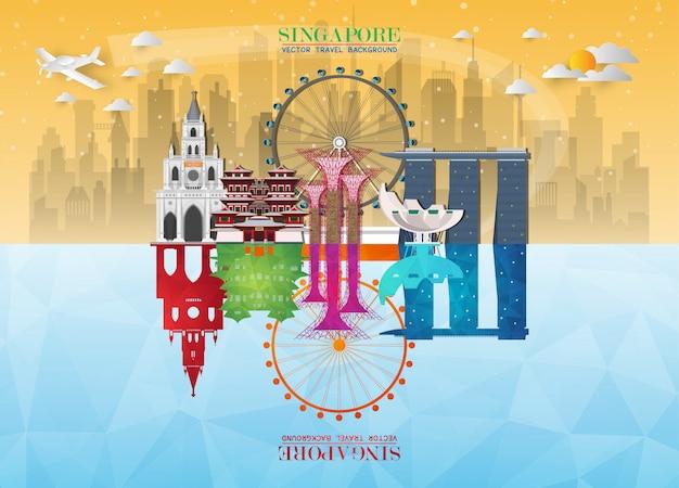 Singapore landmark global travel and journey paper background. Premium Vector