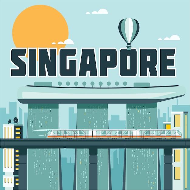 Illustrazione di punti di riferimento di singapore Vettore gratuito