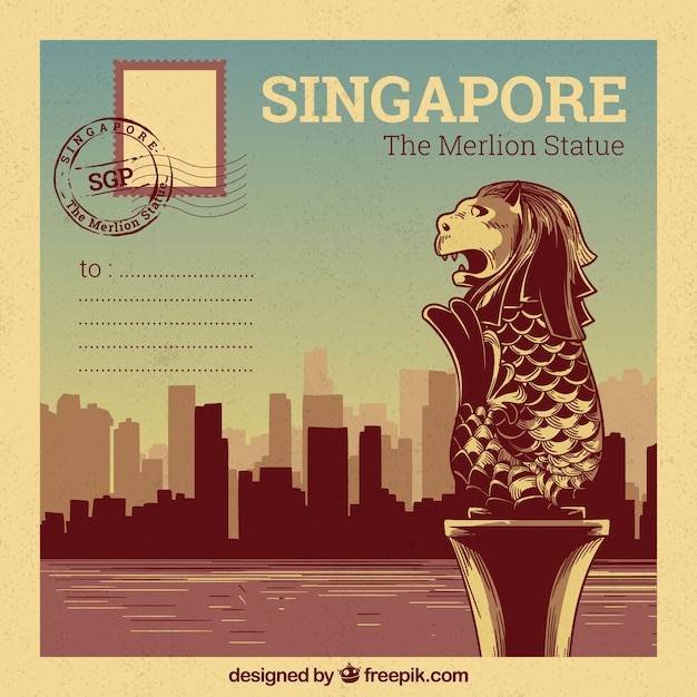 Singapore postcard template with hand drawn style Free Vector