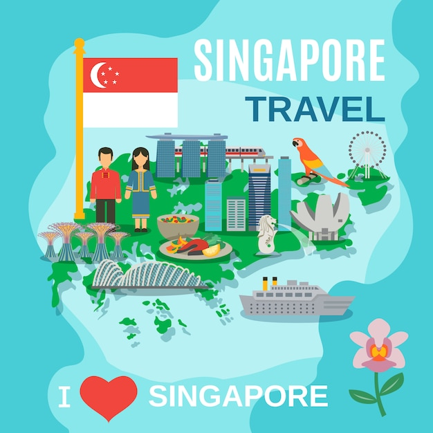 Singapore travel national symbols poster Free Vector