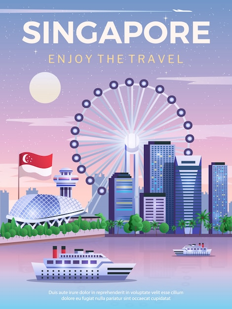 NEW World Travel POSTER Skyline of Singapore