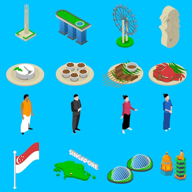 Singapore travel  symbols isometric icons set Free Vector