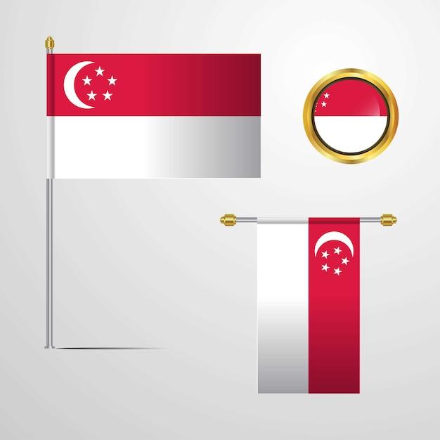 Singapore waving flag design with badge vector Premium Vector