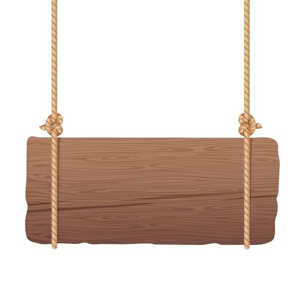 ロープにぶら下がっている木製のsingboard Premiumベクター