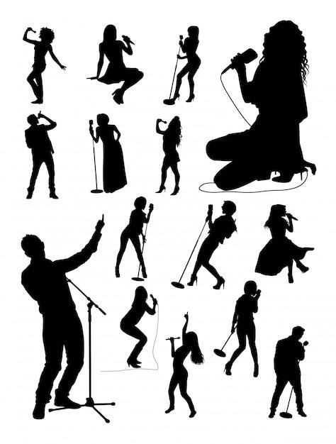 Singer gesture silhouettes. Premium Vector
