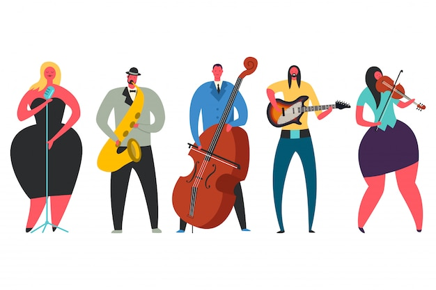 Singer, guitarist, saxophonist, double bass player, violinist vector character set Premium Vector