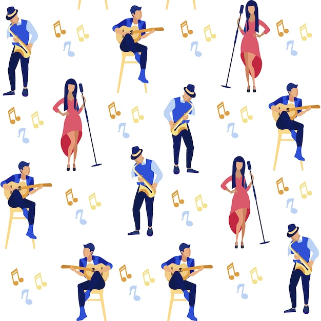 Singer and musicians playing guitar, saxophone. Premium Vector