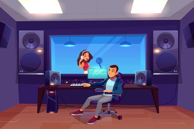 Cantante in studio di registrazione. Vettore gratuito