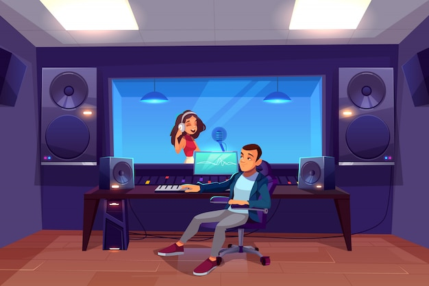 Singer in recording studio. Free Vector