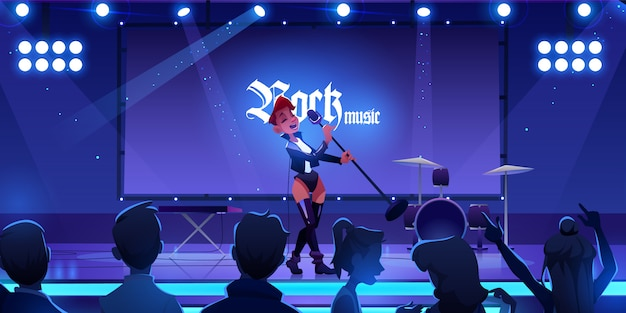 Singer on stage performing rock music concert. woman singing song on scene with microphone, people fans watching show with live instruments, equipment and illumination. Free Vector
