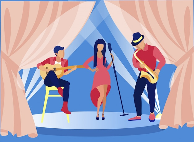 Singers and musicians performing jazz on stage. Premium Vector