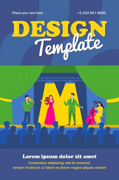 관객 격리 된 평면 포스터에 대 한 비극 오페라에서 재생하는 가수. 무대에서 만화 여자와 남자 노래 드라마 노래 프리미엄 벡터