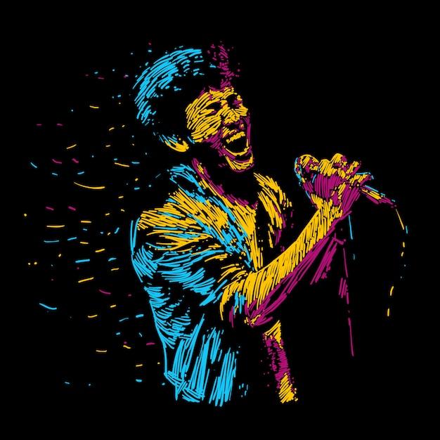 Singger man character abstract vector illustration. Premium Vector