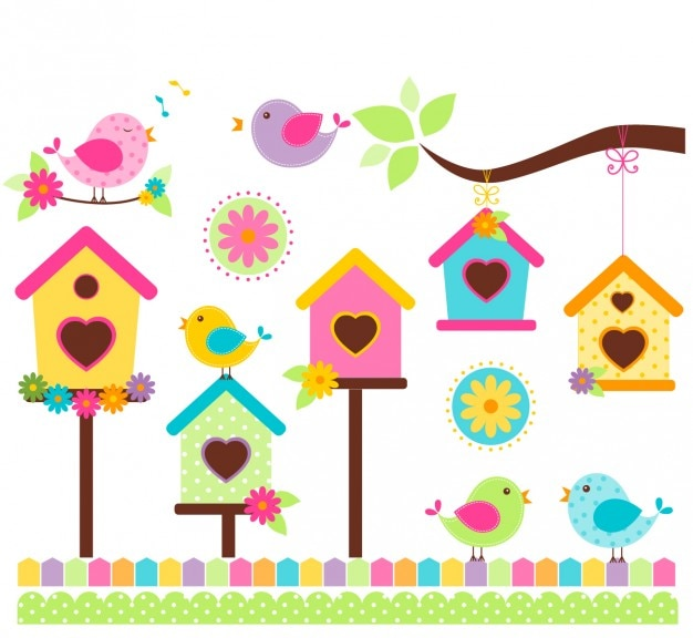 Singing birds in colorful style Free Vector
