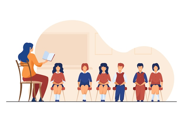 Singing coach teaching group of children. music teacher, choir of kids in classroom flat vector illustration. music lesson, education, hobby Free Vector