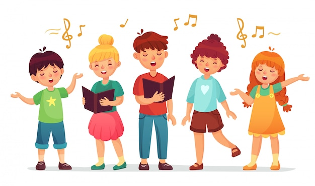 Singing kids. music school, kid vocal group and children choir sing cartoon  illustration Premium Vector