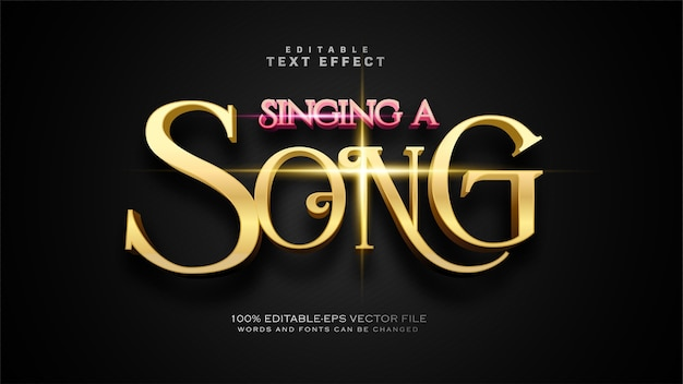 Singing a song text effect Free Vector