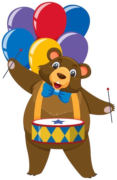 Один персонаж циркового медведя с воздушными шарами на белом фоне Premium векторы