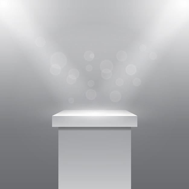 光線プロジェクターの下の単一の空の台座または柱。台座と石。ベクトルイラスト 無料ベクター