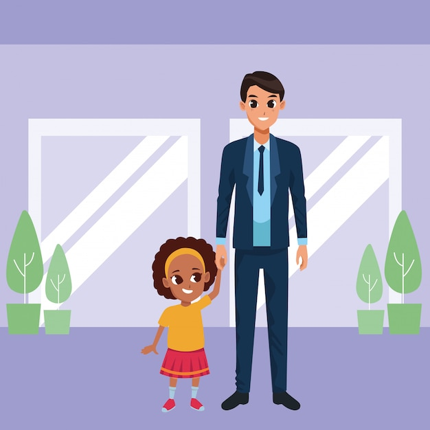 Single father with little daughter cartoon Free Vector