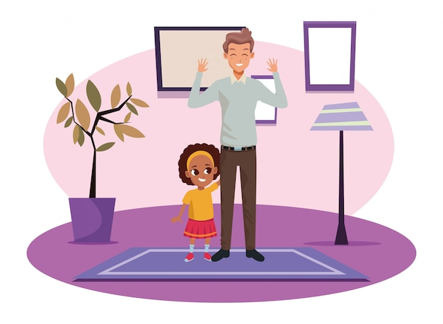 Single father with little daughter cartoon Premium Vector