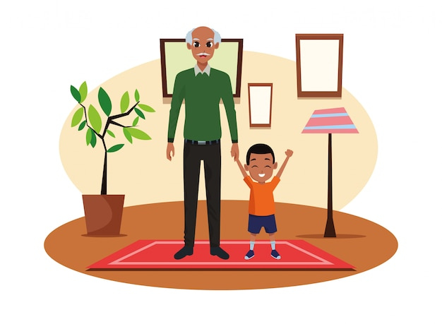 Single father with little son cartoon Premium Vector