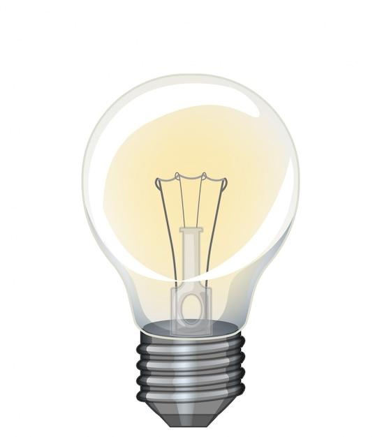 Lampadina singola con luce gialla su bianco Vettore gratuito