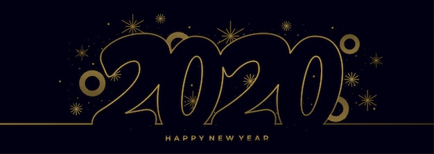 Single Line Drawing Of 2020 New Year With Gold Colors Banner