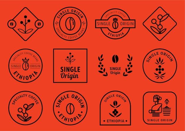 Single origin badge design set Premium Vector
