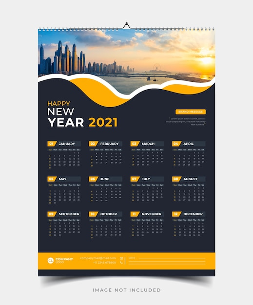 Single page wall calendar  template Premium Vector