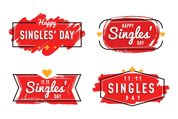 Singles day badge collection Premium Vector