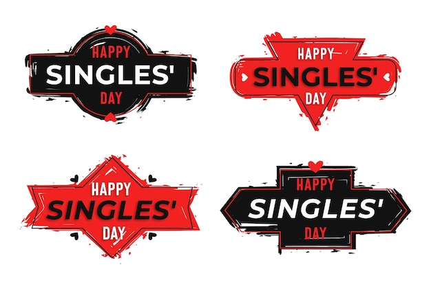 Singles day badges Free Vector