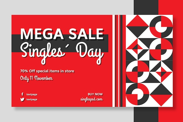 Singles day banner template Free Vector