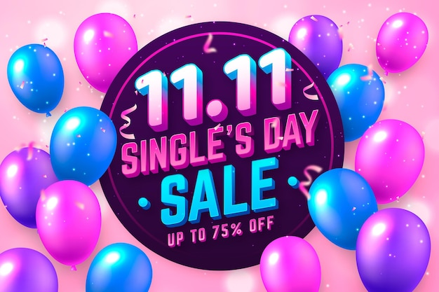 Singles' day banner with realistic balloons Free Vector
