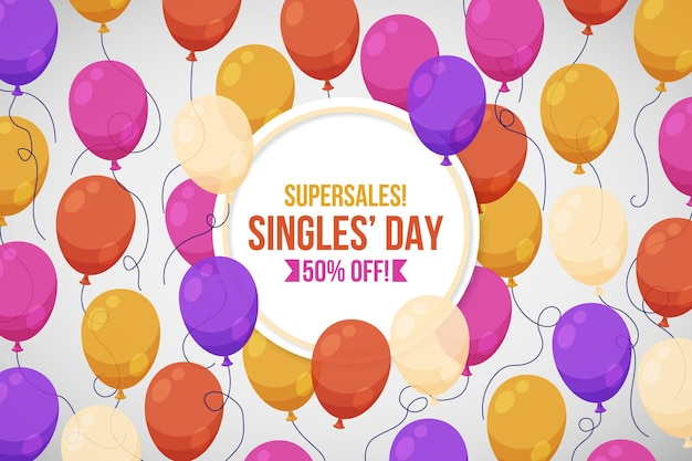 Singles' day colorful balloons banner Premium Vector