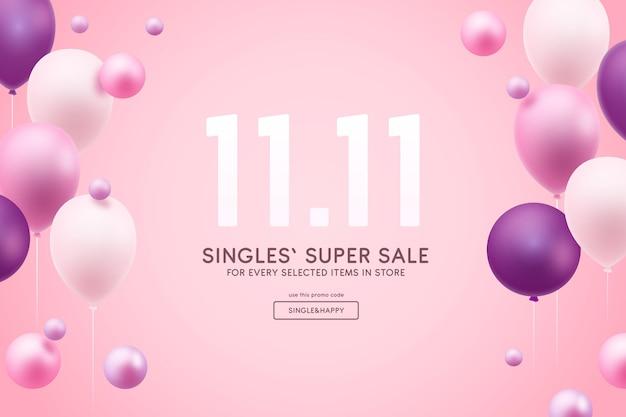 Concetto di giorno per single con palloncini Vettore gratuito