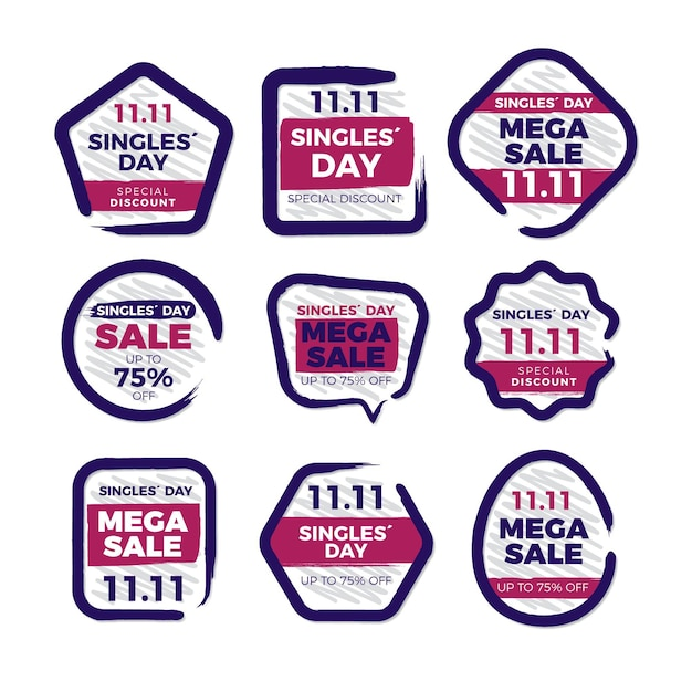 Collezione di etichette per single day Vettore gratuito