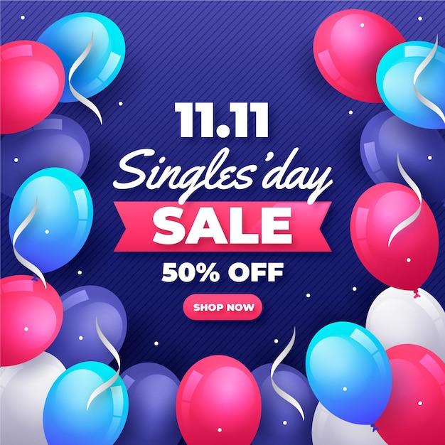 Giornata per single con palloncini design Vettore gratuito