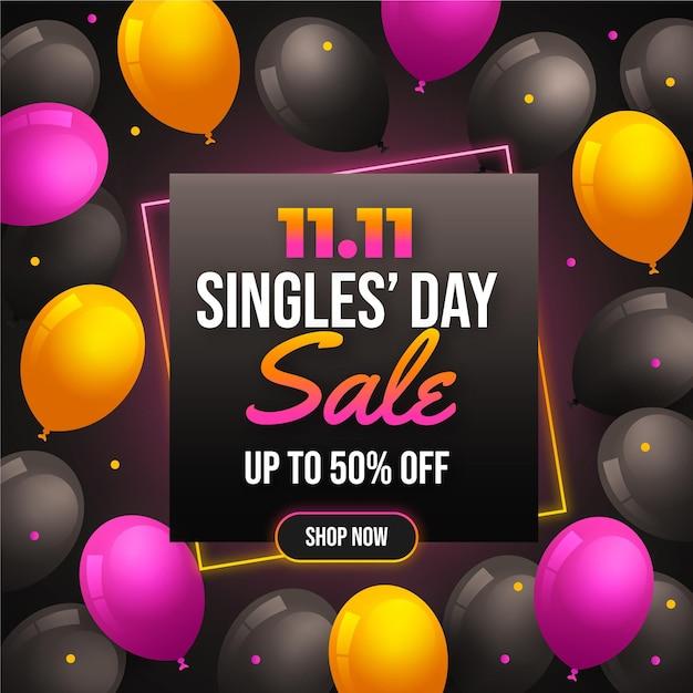 Giornata per single con palloncini Vettore gratuito