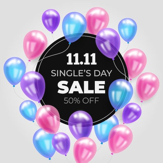 Giornata dei single con palloncini colorati Vettore gratuito