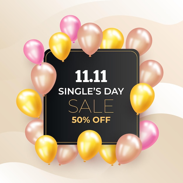 Singles' day with realistic balloons Free Vector