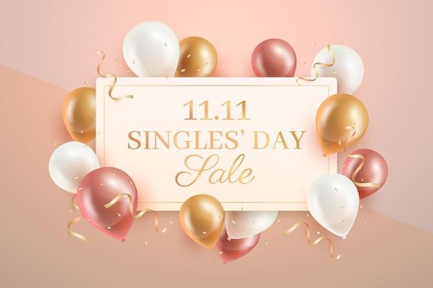 사실적인 풍선이있는 싱글의 날 무료 벡터