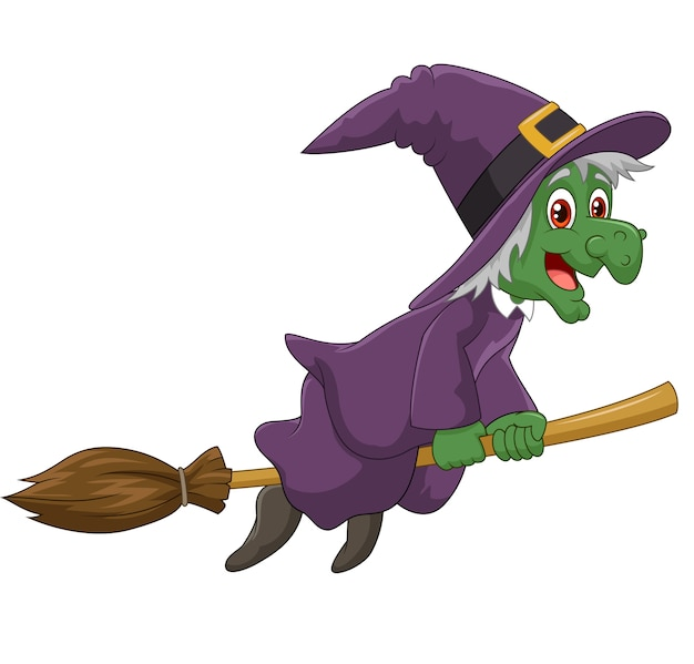 Sinister witch was riding broomstick on white background Premium Vector