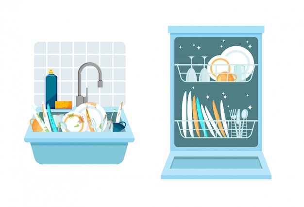 Sink with a bunch of dirty dishes and open dishwasher with clean dishes. different kitchen household utensils before and after washing. vector illustration in a trendy flat style. Premium Vector