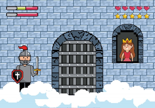 Sir boy in the castle door and princess in the window Free Vector