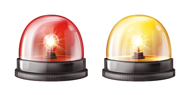Siren alarm color lights 3d illustration Free Vector