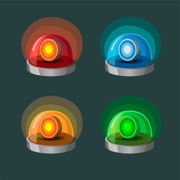 Siren lamp collection icon set in 4 color variation. symbol for police, ambulance and emergency fire dept. concept in cartoon illustration Premium Vector