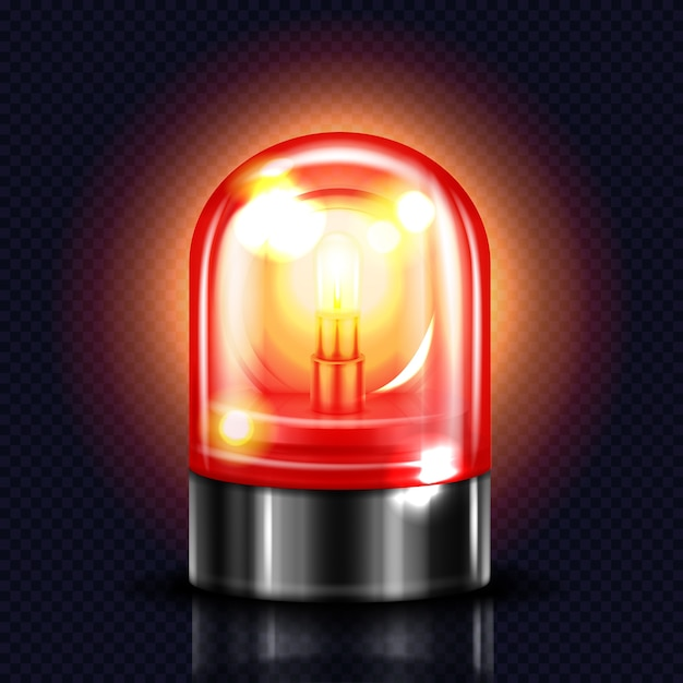 Siren light illustration of red alarm lamp or police and ambulance emergency flasher. Free Vector